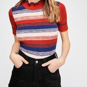 Free People Striped Shirt Sleeve Top